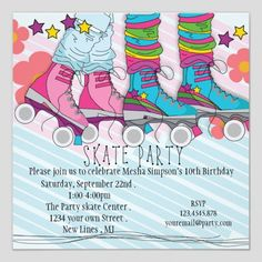 Free birthday invitation maker download party invitations shop fun girls roller skating birthday party invitation created by printmeaparty stopboris Gallery