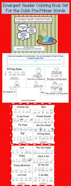 Emergent Reader Coloring Book Set for the Dolch Pre-Primer Sight Words.