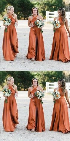 Outlet Cute Backless Bridesmaid Dress A-Line Halter Backless Long Cheap Orange Convertible Bridesmaid Dresses Online, A-Line Halter Backless Long Cheap Orange Convertible Bridesmaid Dresses Online Backless Bridesmaid Dress, Affordable Bridesmaid Dresses, Bridesmaid Dresses Online, Burnt Orange Bridesmaid Dresses, Backless Dresses, Vintage Bridesmaid Dresses, Burnt Orange Dress, Orange Pink, Dress Prom