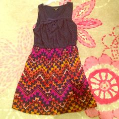 Dress Never worn!! Navy blue lace top with colorful tribal print skirt. Great condition !! Dresses