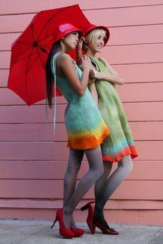 Colourful felt dresses.