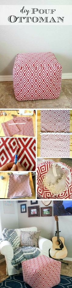 DIY pouf ottoman / sewing project / tutorial