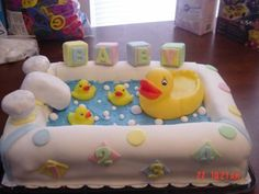 Rubber Duckie Baby Shower Cake: