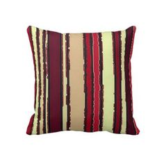 Burgundy Red Purple Off-White Stripes Decorative Accent Pillows by CajunDutch. Red Purple, Burgundy, Retro Wedding Gifts, Accent Pillows, Throw Pillows, Sentimental Gifts, Decorative Pillows, Off White, Room Decor