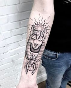 What does anubis tattoo mean? We have anubis tattoo ideas, designs, symbolism and we explain the meaning behind the tattoo. Tattoos 3d, Line Tattoos, Unique Tattoos, Black Tattoos, Body Art Tattoos, Tattos, Anubis Tattoo, Egyptian Tattoo Sleeve, Arm Sleeve Tattoos