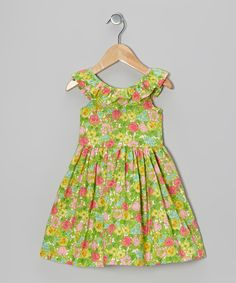 Green & Pink Floral Ruffle Dress - Toddler | Daily deals for moms, babies and kids