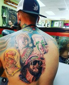 Awesome tattoo of Macho Man Randy Savage, Hulk Hogan, Sting, and the Nature Boy Ric Flair Kevin Owens, Ric Flair, Stars Then And Now, Hulk Hogan, Now And Forever, Seth Rollins, Professional Wrestling, Wwe Wrestlers, Cool Tattoos
