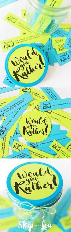 """Free printable """"would you rather"""" questions for kids. Perfect for car or plane rides, camping, etc., to keep bored kids entertained."""