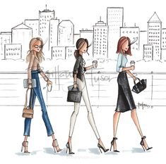what to wear to work | but first, coffee | cityscape | business professional | casual Friday | fashion illustration | Brittany Fuson