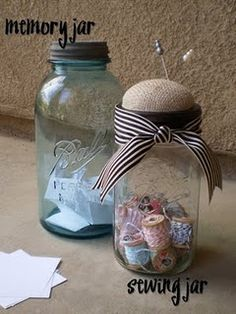 Memory Jar...jot down your fav memories and on New Year's Eve read them with the fam. Sewing Jar...I used vintage thread spools and wrapped them with all the different shades of bakers twine that I have. I used burlap for the pin cushion top.