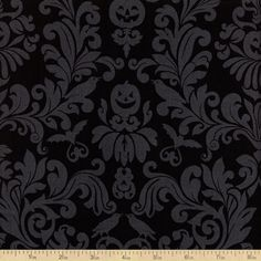 Raven Damask Cotton Fabric - Black by Beverlys.com