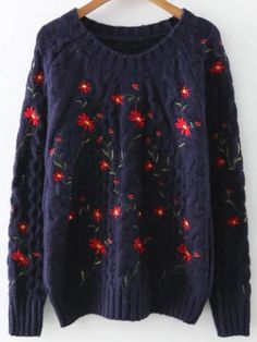 To find out about the Navy Floral Embroidery Raglan Sleeve Sweater at SHEIN, part of our latest Sweaters ready to shop online today! Blue Sweaters, Pullover Sweaters, Loose Sweater, Collar Styles, Raglan, Floral Embroidery, Knitwear, Long Sleeve Tops, Clothes For Women