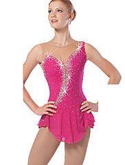Vestido de Patinaje Sobre Hielo Mujer Sin Mangas Deportes de Nieve Vestidos Alta elasticidad Figura vestido de patinaje Diseño Anatómico