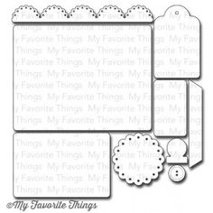 "MFT Stamps | Die-namics Blueprints 6 | Dies: Large rectangle 5 1/4"" x 4"", Medium rectangle 3 ¾"" x 2 ½"", Small rectangle 2 1/8"" x 1 ¼"", Scallop border 5 3/8"" x 5/8"", Scallop circle 2"" diameter, Button 5/8"" diameter, Tag 1 ¾"" x 2 ¾"", Tab ¾"" x 1""."