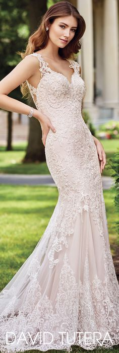 David Tutera for Mon Cheri Spring 2017 Collection - Style No. 117273 Sonal - lace over satin sheath wedding dress with cap sleeves
