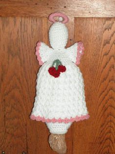 Crochet Pattern for a yarn angel plastic bag holder pattern with a cherry cluster theme Diy Crochet Pillow, Crochet Towel, Baby Afghan Crochet, Crochet Gifts, Crochet Yarn, Irish Crochet, Crochet Scrubbies, Quick Crochet, Crochet Christmas Garland
