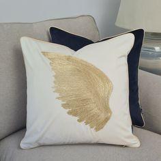 Embroidered pillow cover, golden left wing pillowcase, velvet art cushion cover, 45x45cm, cream pillowcases, Decorative Cover, handmade Beige Cushions, Velvet Cushions, Golden Wings, Pipe Decor, Left Wing, Pillowcases, Betta, Original Image, Pillow Covers
