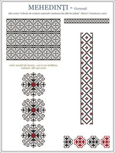 Semne Cusute: ie din Gornesti, Mehedinti, OLTENIA Embroidery Stitches Tutorial, Embroidery Motifs, Cross Stitch Embroidery, Modern Cross Stitch Patterns, Cross Stitch Designs, Knitting Charts, Knitting Patterns, Palestinian Embroidery, Cross Stitching