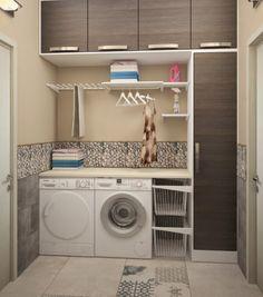Laundry room set-up-floor tile beige pattern - Small Laundry Room Laundry Room Wall Decor, Laundry Room Remodel, Small Laundry Rooms, Laundry Closet, Laundry Room Organization, Laundry Room Design, Interior Design Living Room, Living Room Designs, Diy Storage Shelves