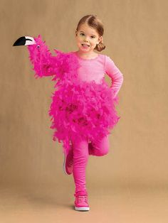 Feather boas transform into a super-cute flamingo costume for Halloween!  sc 1 st  Pinterest & How to Make a Pink Flamingo Halloween Costume | DIY Halloween ...