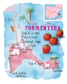 Formentera map by Scott Jessop. Ibiza Travel, Spain Travel, Formentera Spain, Watercolor Map, Balearic Islands, Spain And Portugal, Amazing Destinations, Places To Travel, La Gomera