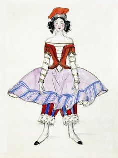 Costume design from Petrushka , by Alexandre Benois (V&A Custom Print) Victoria and Albert Museum shop