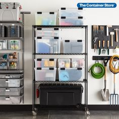Our InterMetro Shelving is amazingly strong. This Starter Unit features commercial-quality construction and has four easily adjustable, ventilated wire shelves. Plus, you can even add casters (sold separately) for a mobile shelving solution! (Also shown: Clear Weathertight Totes, Iris Store-It-All Trunk) Shelving Solutions, Garage Storage Solutions, Metal Shelves, Wire Shelving, Garage Organization, Organization Ideas, Storage Ideas, Mobile Shelving, Storage Tubs