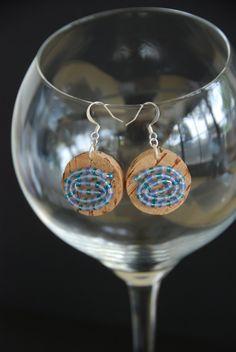 Blue Swirl Wine Cork Earrings by GulfCoasters on Etsy $8.25