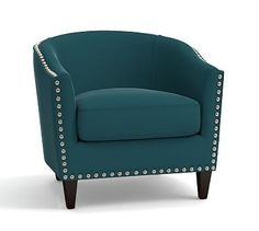 Harlow Upholstered Armchair with Pewter Nailheads, Polyester Wrapped Cushions, Vintage Velvet Bali