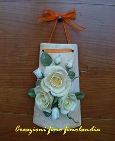 Creazioni fimo fimolandia: Tegola con rose in porcellana fredda realizzate a ...