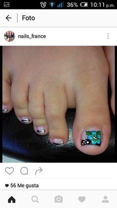 Cute Pedicure Designs, Toe Nail Designs, Nails Design, Cute Toe Nails, Cute Toes, Pedicure Nail Art, Toe Nail Art, Cute Pedicures, Pretty Hands
