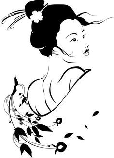 "Attēlu rezultāti vaicājumam ""awesome black and white stencils"" Geisha Kunst, Geisha Art, Stencil Art, Stencils, Geisha Drawing, 3d Templates, Arte Tribal, Silhouette Art, Pyrography"