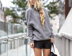 grey sweater + leather shorts