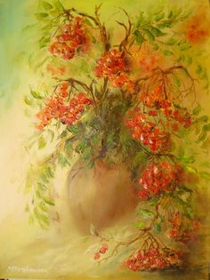 "Maria Roszkowska: ""Jarzębina"" Wonderful Flowers, Botanical Prints, Flower Art, Glass Art, Mario, Flora, Berries, Artsy, Flower Paintings"