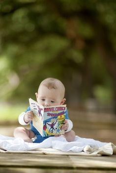 Adorable, as long as he/she gets introduced to REAL books when he/she is older. Comic books and Graphic 'Novels' are NOT are books. I Love Books, Good Books, Books To Read, Cute Kids, Cute Babies, Baby Kids, Baby Pictures, Baby Photos, Little People