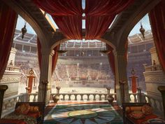 It's good to be the Emperor of Rome during a performance at the Colosseum. Fantasy City, Fantasy Castle, Fantasy Places, Fantasy World, Fantasy Art Landscapes, Fantasy Landscape, Fantasy Concept Art, Fantasy Artwork, Dreamland