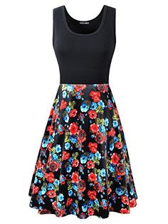 Veranee Women's Vintage Scoop Neck Sleeveless A-line Floral Swing Cocktail Dress With Pockets