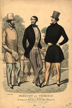 1848 fashion plate shows the lowered waistline and full, rounded chest popular in the latter 1840s (compare to the waistline of the 1841 styles).