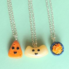Handmade Macaroni and Cheese Three-Way Best Friend Necklaces ... Price: $49.99 ... Where to Buy: AlwaysFits.com #handmadejewelry #macandcheese