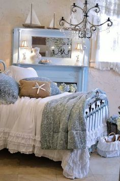Coastal Bedroom Designs Shabby chic romantic beach bedroom in soft blue, some driftwood touches and… Baños Shabby Chic, Muebles Shabby Chic, Shabby Chic Homes, Shabby Chic Furniture, Coastal Bedrooms, Shabby Chic Bedrooms, Luxurious Bedrooms, Vibeke Design, Chic Bathrooms