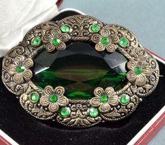 Винтажная брошь 1920s арт деко Чешской зеленый овальной огранки кристалл серебристый ювелирных изделий | eBay