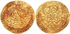 England's first traded gold coin was called the noble. This one comes from the reign of Edward III. Read more about Medieval English coins at http://andreacefalo.com/2014/10/27/halfpennies-farthings-and-nobles-a-guide-to-englands-medieval-coins/
