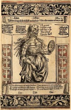 """A memento mori as New Year greeting, about 1500   """"Hans KVRCZ"""" is inscribed, on the mirror: """"ZIT BRINGT ALLE DING"""""""