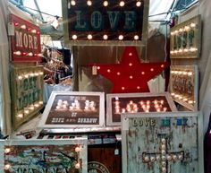 Our Stall at Old Spitalfields Market, London . Argent and Sable, Vintage Sign Makers Fairground Inspired Signs.