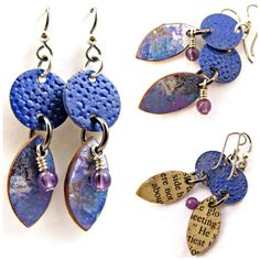 Boho Dangle Earrings Altered Metal and Polymer Clay by Janet Wilson of ChickieGirlCreations