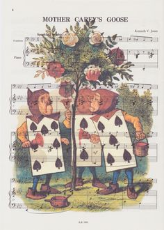 Alice in Wonderland vintage sheet music print - the playing cards £6.50 #Alice #Wonderland #uk