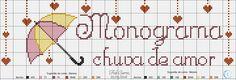 monograma chuva de amor 1 (azul: 410 e 433 / lilás: 95 e 98) Cross Stitching, Bullet Journal, Unisex, Google, Cross Stitch Love, Cross Stitch Baby, Cross Stitch Art, Love Rain, Names