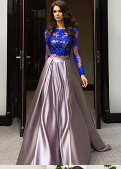 Formal Prom Dresses, A Line Royal Blue Two Piece Long Sleeve Lace Top Prom Dresses Whether you prefer short prom dresses, long prom gowns, or high-low dresses for prom, find your ideal prom dress for 2020 Pageant Dresses For Teens, 2 Piece Homecoming Dresses, Elegant Bridesmaid Dresses, Prom Dresses Uk, Tulle Prom Dress, Lace Dress, Dress Party, Dress Long, Party Dresses