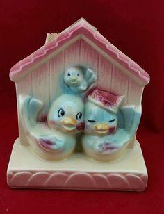 Vtg 40/50s SHAWNEE Pottery PLANTER Vase POCKET USA830 LOVE BIRDS HOUSE BABY