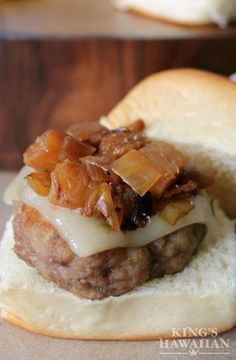 King's Hawaiian sliders topped with caramelized onions and melty cheese! What's better than that?